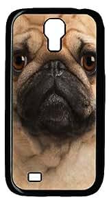 Big Pug Face Custom Samsung Galaxy I9500/Samsung Galaxy S4 Case Cover Polycarbonate Black