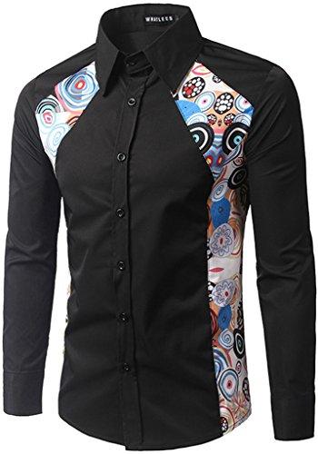 What Lees Men's Basic Contrast Long Sleeve Slim Button Down Dress Shirts B098-Black-M