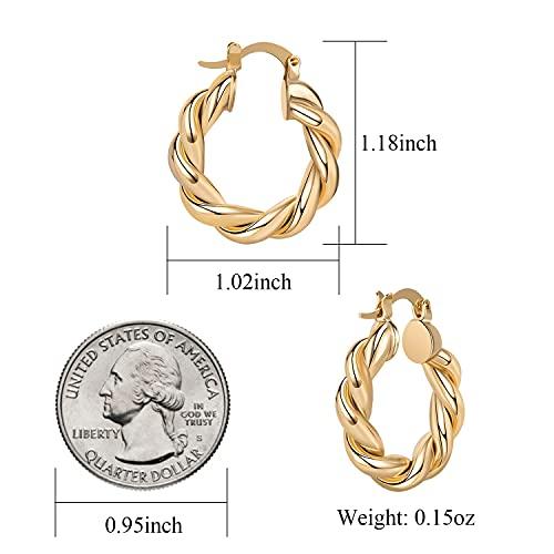 Pinsparkle Gold Hoops For Women Gold Earrings 14K Gold Plated 925 Sterling Silver Hoops Earrings Womens Earrings Twisited Chunky Gold Hoop Earrings