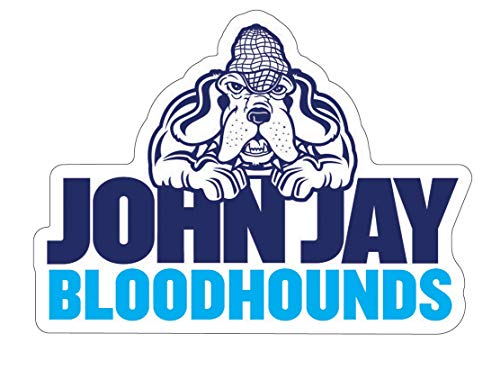 John Jay College Bloodhounds Auto Badge Decal, Hard Thin Plastic, Small 3.25 x 2.4 inches