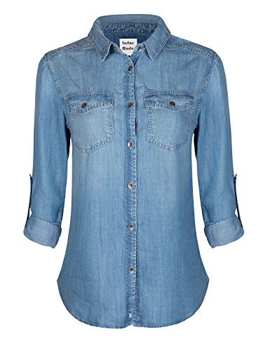 Instar Mode Basic Classic Long/Roll Up Sleeve Button Down Chambray Denim Shirt Tunic (S-3XL) Light Denim S