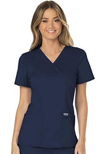 WW Revolution by Cherokee WW610 Women's Mock Wrap Scrub Top, Navy, M by WW Revolution by Cherokee