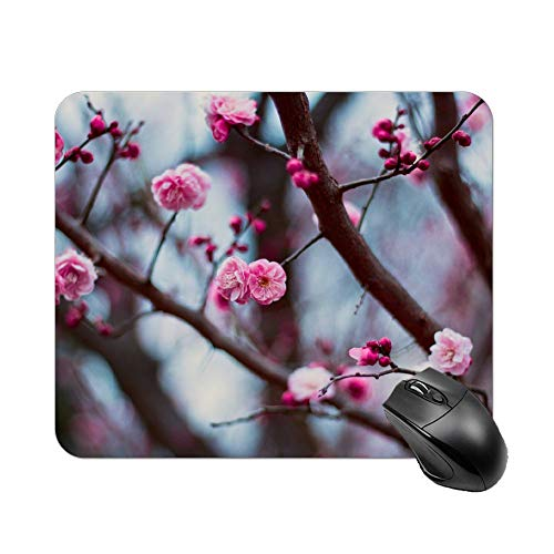 Atunme Mouse Pad View of Pink Cherry Blossoms Mousepad Non-Slip Rubber Gaming Mouse Pad Rectangle Mouse Pads for Computers Laptop]()