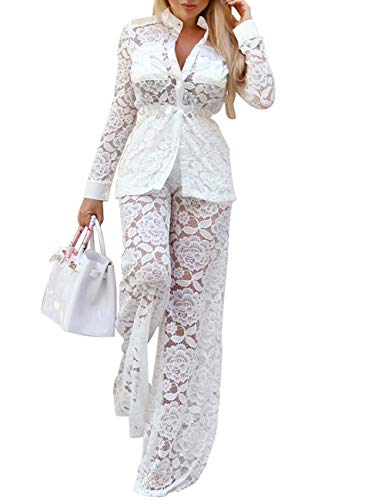 XXXITICAT Women's Sexy Lace Transparent See Through Wide Leg Pants Tube Top Long Coat Sets - Pant Lace Set Duster