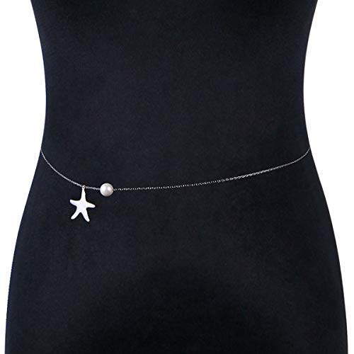 S925 Sterling Silver Sexy Waist Belt Belly Chain Adjustable Body Starfish Chain
