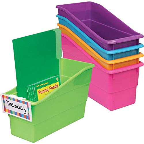 Really Good Stuff Durable Magazine, Book, Folder and File Holders - Book Holders with Universal Clip-On Labels - Bright Neon Colors (Set of 5)]()
