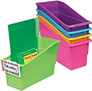 Really Good Stuff Durable Magazine, Book, Folder and File Holders – Book Holders with Universal Clip-On Labels – Bright Neon