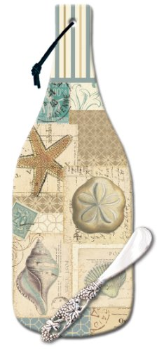 Shell Cheese Knife - CounterArt Shell Collage Wine Bottle Shaped 12-1/2-Inch Glass Cheese Cutting Board with Spreader Knife