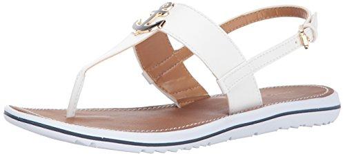 Tommy Hilfiger Women's Galiant Flat Sandal, White, 7 Medium US
