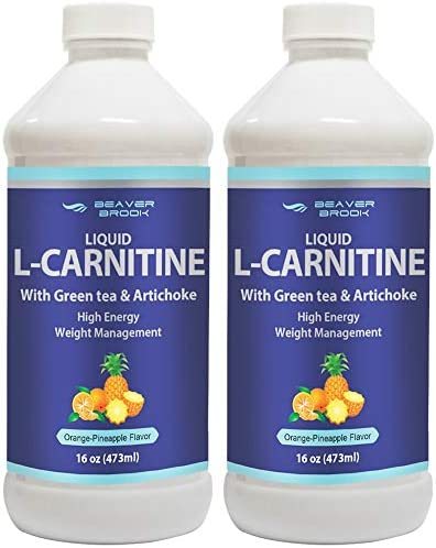 Beaver Brook Liquid L-Carnitine 1,500mg with Green Tea Artichoke, All Natural, Non-GMO, Gluten Free – Orange Pineapple