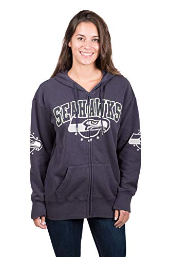 NFL Seattle Seahawks Women's Full Zip Fleece Hoodie Sweatshirt Banner Jacket, X-Large, Navy -