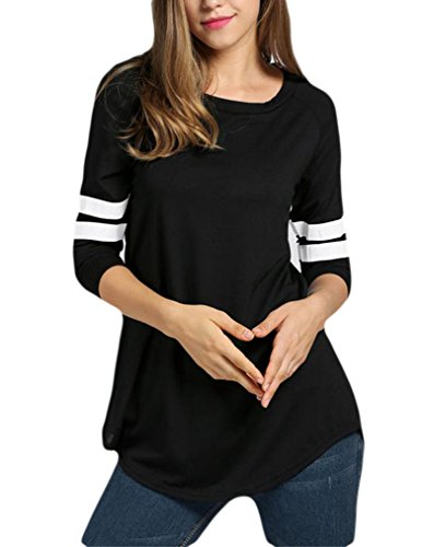 Women's Casual Tops Contrast Color Baseball Long Sleeve T-Shirt Long Tee (M, - Jersey Striped T-shirt