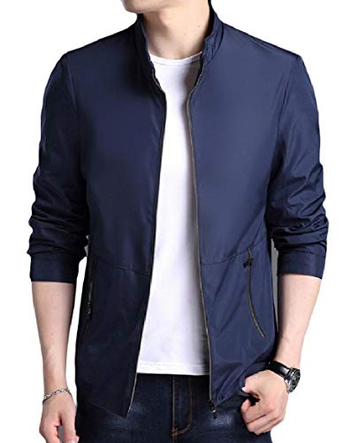 Pocket Long Howme Men Fashionable Collar Stand Blue Jacket Coat Dark Sleeve Zip qftq5wUd