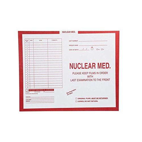 Nuclear Medicine, Red #185 - Category Insert Jackets, System I, Open Top - 14-1/4'' x 17-1/2'' (Carton of 250)