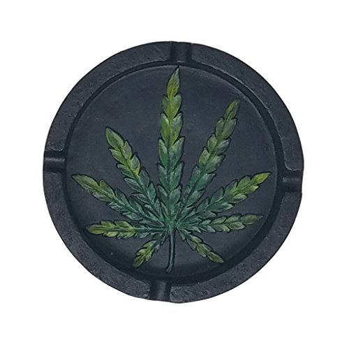 PolyPlus Black Pot Leaf Shape Cigarette Ashtray for Outdoors and Indoors Use - Modern Home Decor Tabletop Ash tray for Smokers - Nice Gift for Men and ()