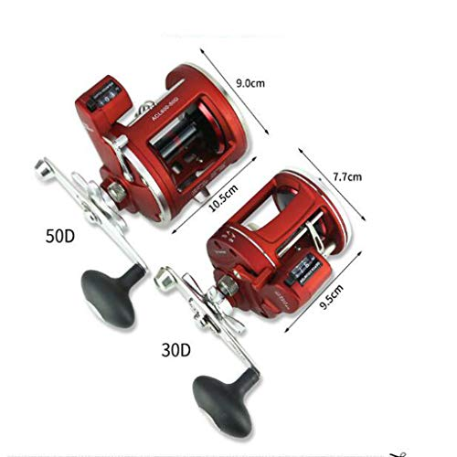 12BB ACL Drum Round Reel with Counter Fishing Reel Boat Fishing Trolling Fishing Reel Left/Right Hand Jigging Trolling in Saltwater (Right) ()