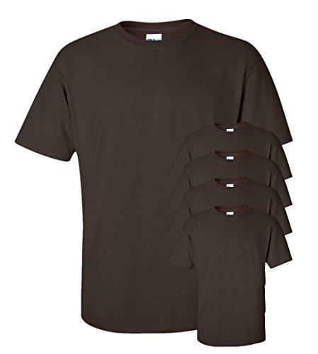 Gildan Men's Seamless Double Needle T-Shirt, Dark Chocolate, S (Pack of 5) (Chocolate Ash Grey T-shirt)