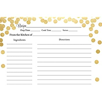 recipe cards bridal shower brunch and bubbly confetti gold wedding shower