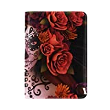 Sugar Skull Roses Halloween Passport Holder PU Leather Cover ID Card Wallet Travel Case
