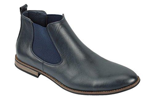 Leather scamosciata caviglia retro Navy stivaletti Mid casual Xposed Blue da in italiano Desert scarpe Smart pu pelle stile Dealer uomo H6fXwx