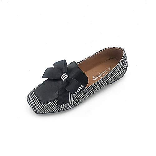 Retra Primavera De Negro Guisantes Arquean Cuadrados Mocasines Salvajes Mujer Cabeza Zapatos CgYnwxq6