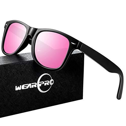 Hot Pink Wayfarer Sunglasses (Mens Sunglasses for Men Vintage Polarized Sun Glasses)