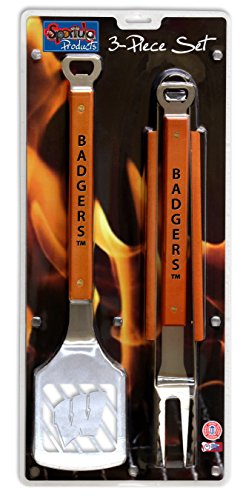 NCAA Wisconsin Badgers 3PC BBQ Set, Heavy Duty