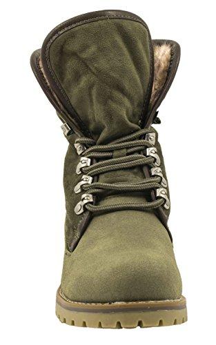 Elara Damen Biker Boots | Gemütliche Worker Stiefeletten | Warm Gefüttert | chunkyrayan Dk Green Switzerland