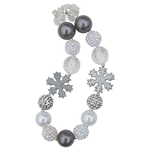 Chunky Bubblegum Beads Beaded Necklace for Little Girls, Kids, Teens, & Moms (Silver Winter Snow) (Beaded Silver Necklace)