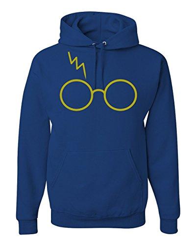 Gold Wizard Glasses Scar Unisex Hooded Sweatshirt Fashion Hoodie ( Royal Blue , Small )