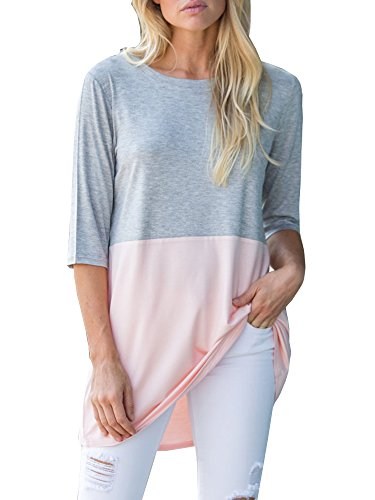 GAMISOTE Womens Casual Tunic Dress Loose Fit 3 4 Sleeve Color Block Long T Shirt Tops