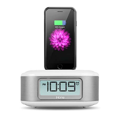 iHome iPL23V2 Stereo FM Clock Radio with Lightning Connector and USB Charging- White - (Renewed)
