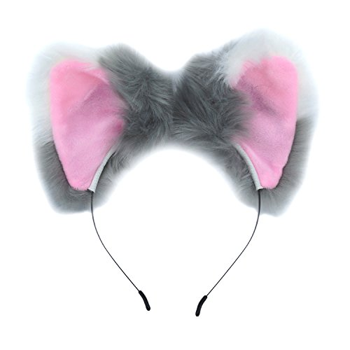 (UWANTME Ears Headband Cat Fox Kitten Fur Ears Hair Bands Anime Party Costume Kitty Cosplay Headband For Halloween Christmas or Kitten Theme Party Costumee (White and)