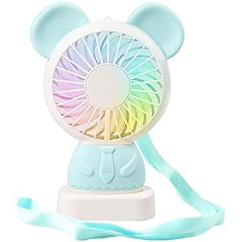 SUPSOO Mini Handheld Fan USB Desk Fan Small Personal Portable Stroller Table Fan with USB Rechargeable Battery for Travel Office Room Household Blue Bear