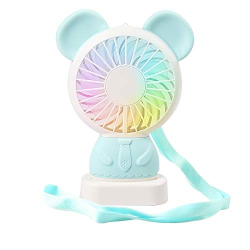 SUPSOO Mini Handheld Fan Cute Style Small Personal Portable Stroller Table Fan with USB Rechargeable Battery for Travel Office Room Outdoor Blue Bear