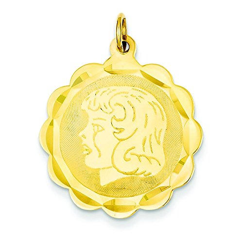 14k Yellow Gold Solid Polished Engravable Girl Head on .018 Gauge Engraveable Scalloped Disc Charm