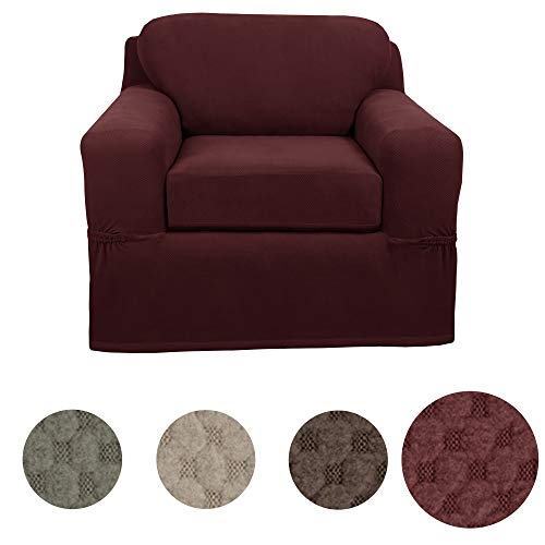 MAYTEX Pixel Ultra Soft Stretch 2 Piece Arm Chair Furniture Cover Slipcover, Wine Red