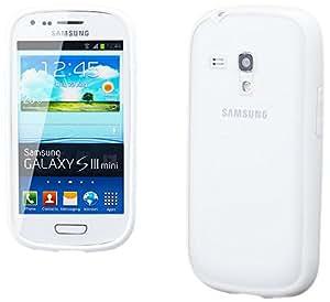 iCues 4250786224541 - Marco protector para Samsung Galaxy S3 Mini (con protector de pantalla y gamuza de microfibra), color blanco