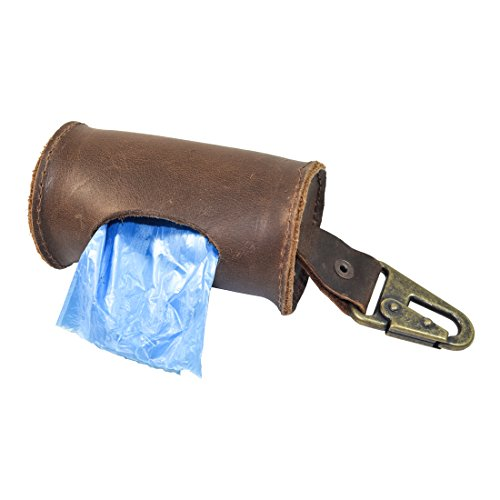 Durable Thick Leather Dog Poop Bag Dispenser With Belt Attachment Handmade by Hide & Drink :: Bourbon Brown