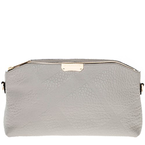 Burberry Women's Small Embossed Check and Clutch Bag Pale - Grey Bag Burberry