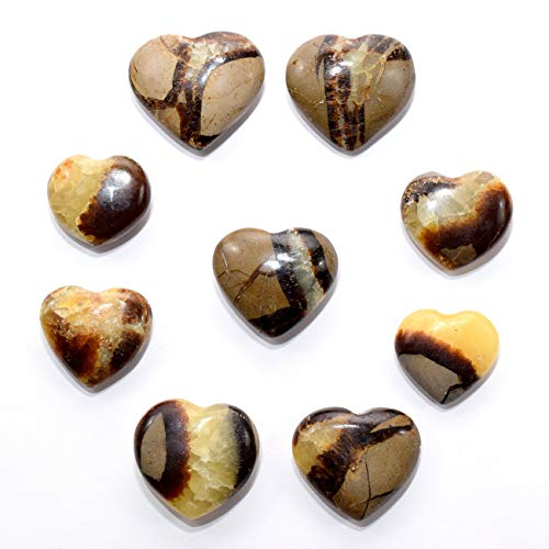 Pair 35mm Septarian Dragon Stone Hearts Polished Calcite/Aragonite Gemstone Crystal Mineral Specimens - Madagascar (2PCS)