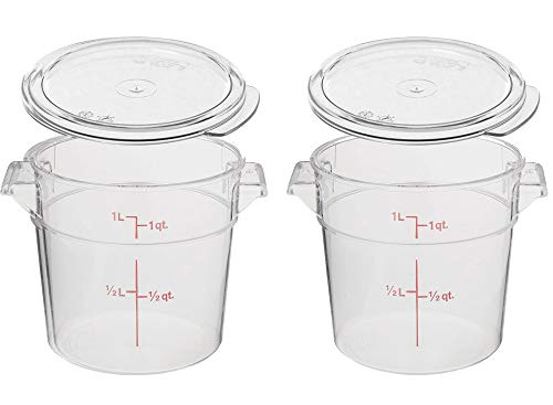 - Cambro RFSCW1135 Camwear Clear Round 1 Qt Storage Container with Clear Round Lid RFSCWC1135, pack of 2