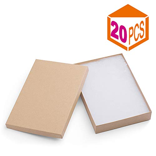 MESHA Cardboard Paper Box for Jewelry and Gift 8x5.5x1.25 Inch Thick White Paper Box with Cotton Lining (Brown-20Pcs)