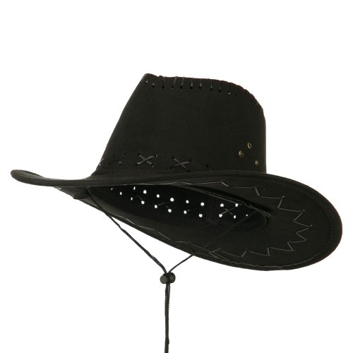 Rasta/NYE Stitched Suede Cowboy Hat - Black (High Crown Cowboy Hat)