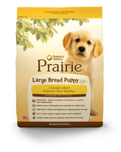 Prairie Large Breed Puppy Chicken Meal & Brown Rice Medley by Nature's Variety 30 lb Bag