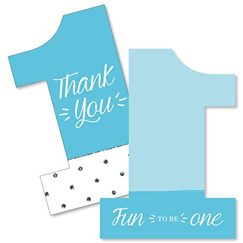 1st Birthday Boy - Fun to be One - Shaped Thank You Cards - First Birthday Party Thank You Note Cards with Envelopes - Set of 12]()