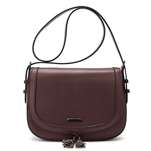 ECOSUSI Women's Saddle Bag Purses Crossbody Shoulder Bag with Flap Top & Tassel, (Saddle Flap Handbag)