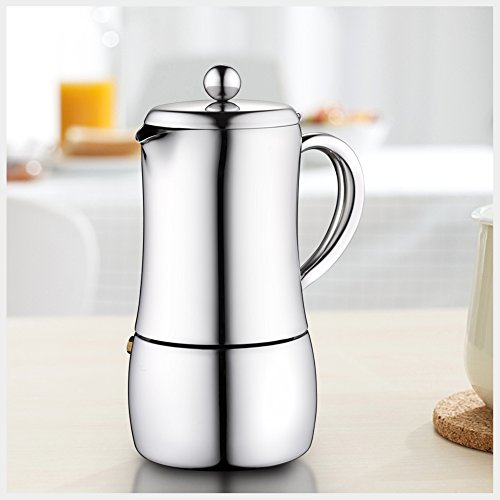 Minos Moka Pot 6-Cup Espresso Maker - Stainless Steel And Heatproof Handle - Sleek, Curvy, Elegant & Stylish Design- Suitable for Gas, Electric And Ceramic Stovetops by Minos (Image #5)'