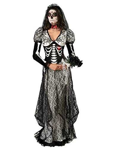 [NonEcho Women's Skeleton Ghost Dress Costume for Halloween Party] (Scary Woman Devil Costume)
