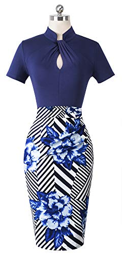HOMEYEE Women's Short Sleeve Business Church Dress B430 (6, Dark Blue Stripe) by HOMEYEE (Image #1)